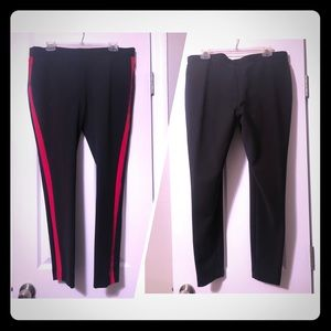 Express Black and red striped leggings, L